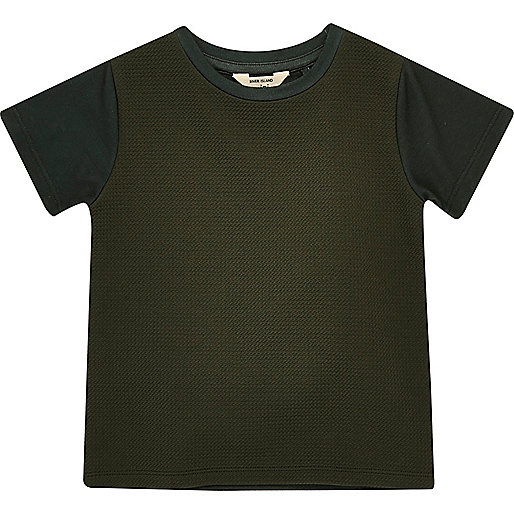 T-shirt kaki texturé mini garçon