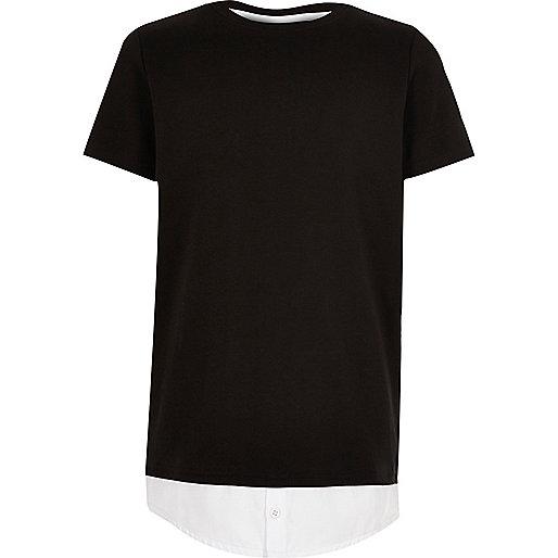 T-shirt noir à double épaisseur pour garçon