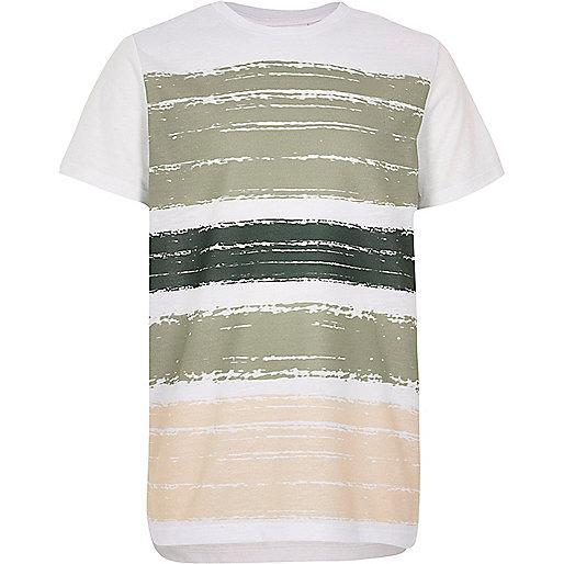 Boys white block panel t-shirt