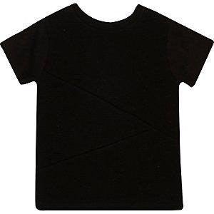 Schwarzes strukturiertes T-Shirt