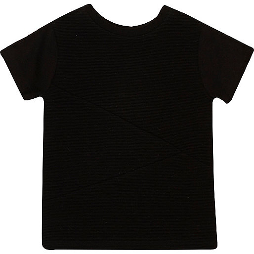 Mini boys black textured t-shirt