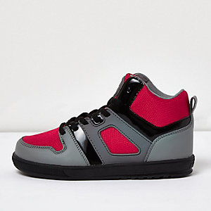 Boys grey panel hi-tops