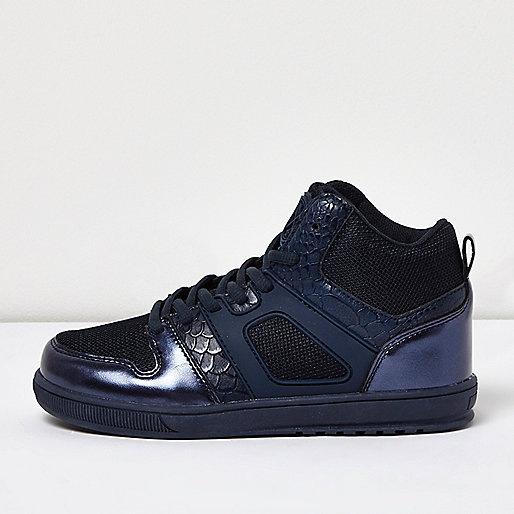 Baskets montantes bleu métallisé pour garçon