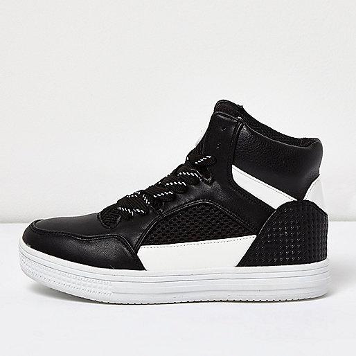 Boys black hi-top sneakers