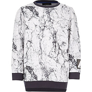 Boy white marble sweatshirt