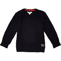 Mini boys navy ribbed crew neck sweater