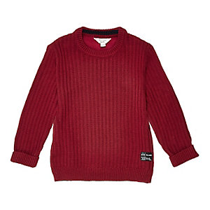 Mini boys red ribbed crew neck sweater