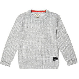 Mini boys grey ribbed jersey sweater