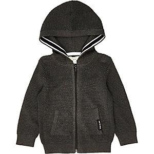 Mini boys grey waffle hoodie