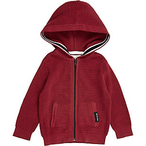 Mini boys red waffle hoodie