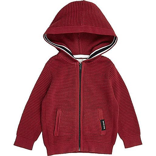Roter Hoodie mit Waffelstruktur