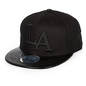 Boys black LA peak cap