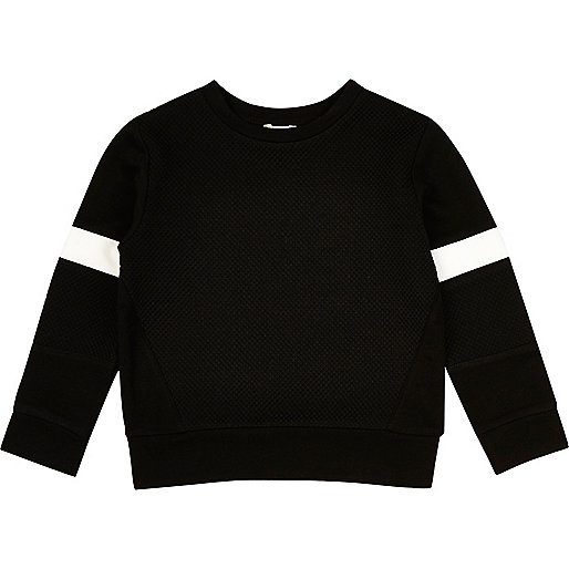 Mini boys black stripe jumper