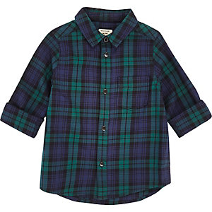 Mini boys green plaid shirt