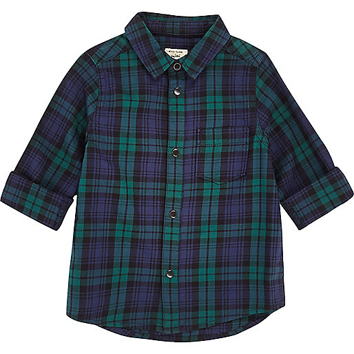 Mini boys green tartan shirt