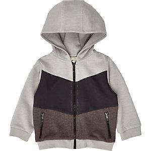 Sweat colour block gris à capuche mini garçon