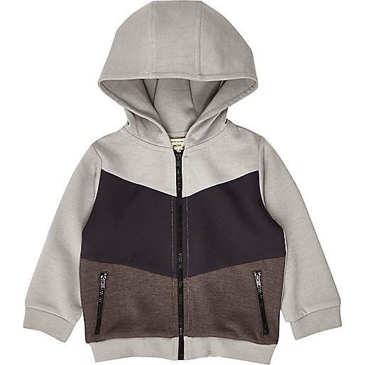 Mini boys grey block hoodie