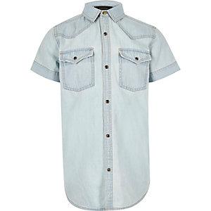 Chemise style western en jean bleu clair pour gaçon