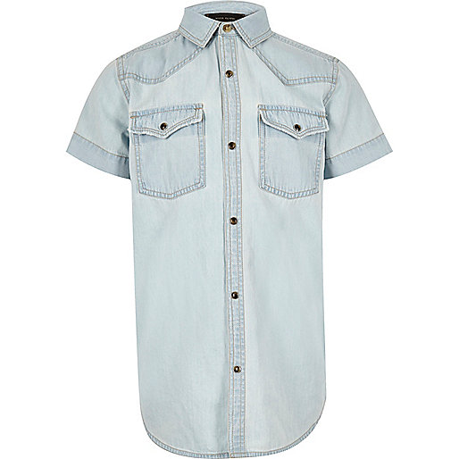 Boys light blue Western denim shirt