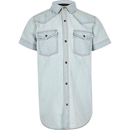 Boys light blue Western denim shirt
