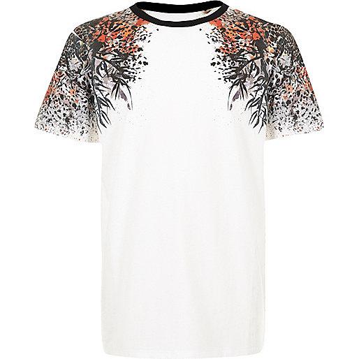 T-shirt blanc à imprimé oriental aux épaules pour garçon
