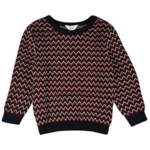 Mini boys red zig zag knit sweater