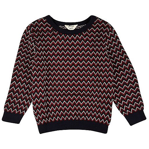 Mini boys red zig zag knit jumper