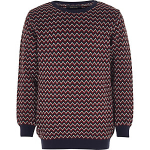 Boys red zig zag knit jumper