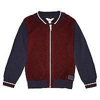 Mini boys red colour block bomber jacket