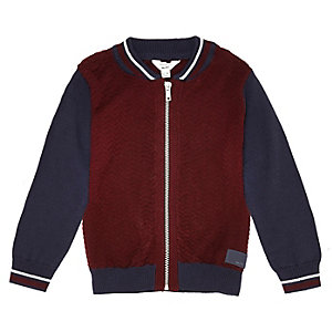 Mini boys red colour block bomber jacket