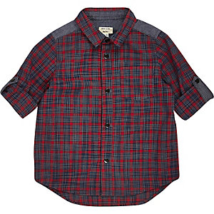 Mini boys red check panel shirt