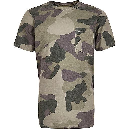 T-shirt camouflage kaki pour garçon
