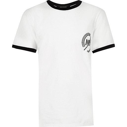 Boys white ringer t-shirt