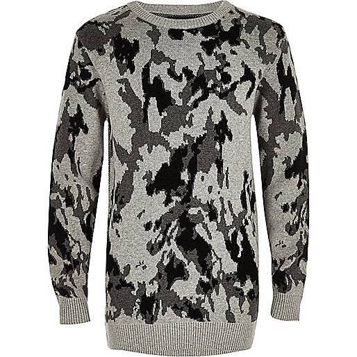 Boys grey camo jumper