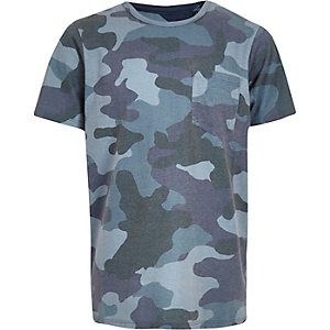 T-shirt camouflage bleu pour garçon