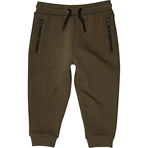 Mini boys khaki green textured joggers