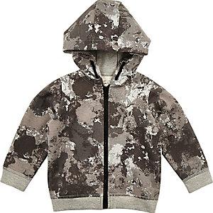 Mini boys grey camo hoodie