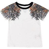 Mini boys white oriental print t-shirt