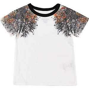 Mini boys white oriental print t-shirt
