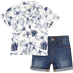 Mini boys white shirt and shorts outfit