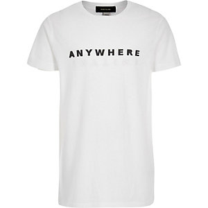 Boys white print t-shirt