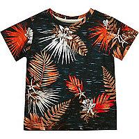 Mini boys blue leaf print t-shirt
