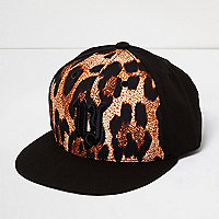 Boys black animal print cap