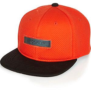 Boys orange mesh Brooklyn cap