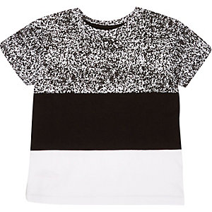 Mini boys black block panel t-shirt