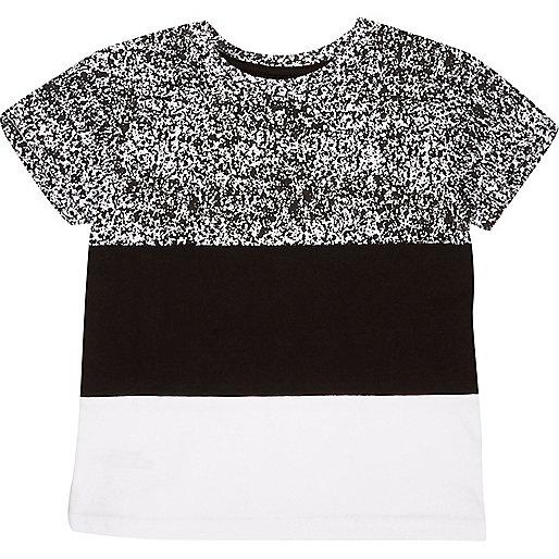 Mini boys black block panel t-shirt