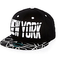 Boys black New York geometric print cap