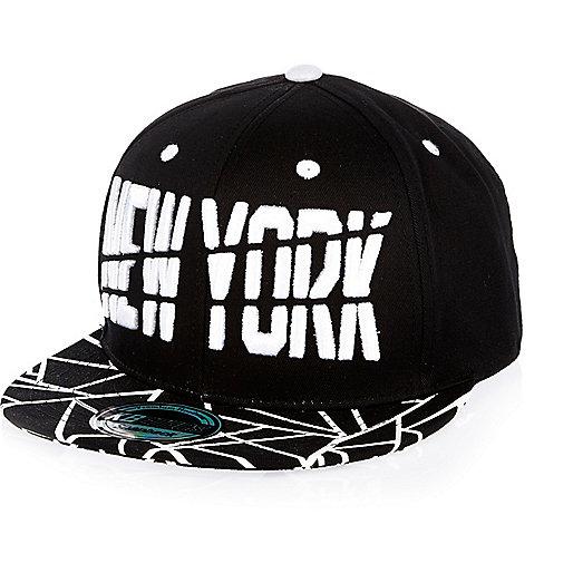 Boys black New York geometric print cap
