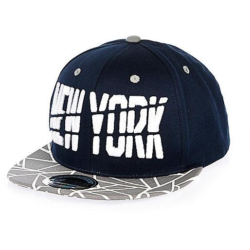 Boys navy New York geometric print cap