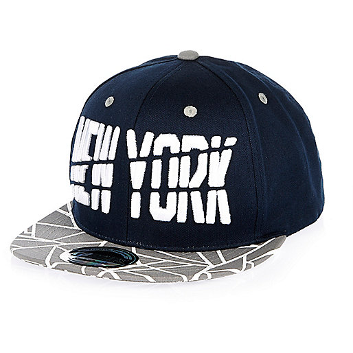 Boys navy New York geometric print cap